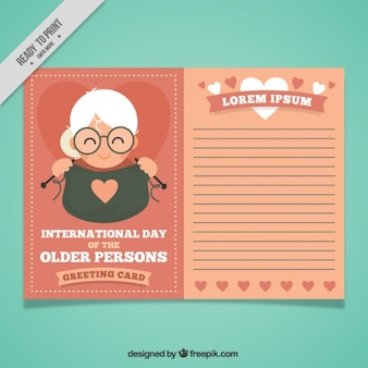 Older person day greeting card template