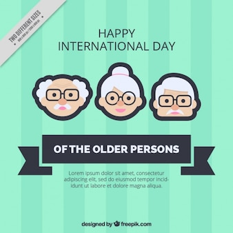 Older persons day background in green color