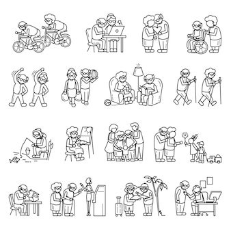 Older persons icon set, simple style