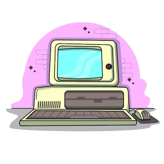 Oldish vintage retro personal computer software flat design