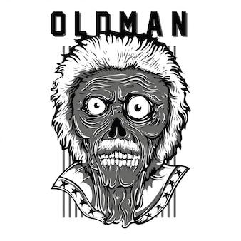 Oldman patriot black and white illustration