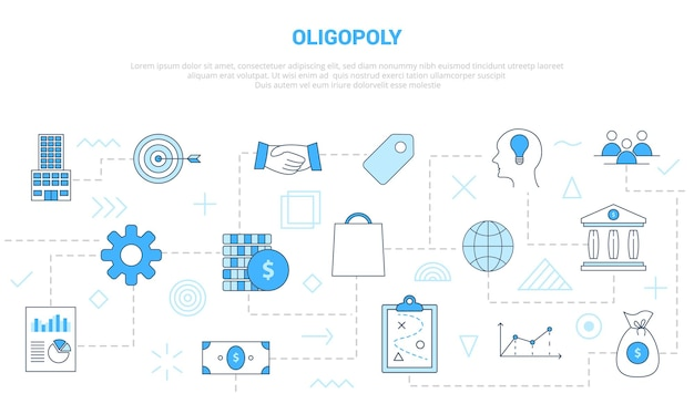 Oligopoly concept with icon set template banner