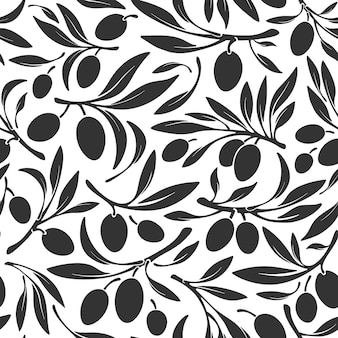 Oliva seamless pattern ranch silhouette of berry wild fruits  nature farm harvest