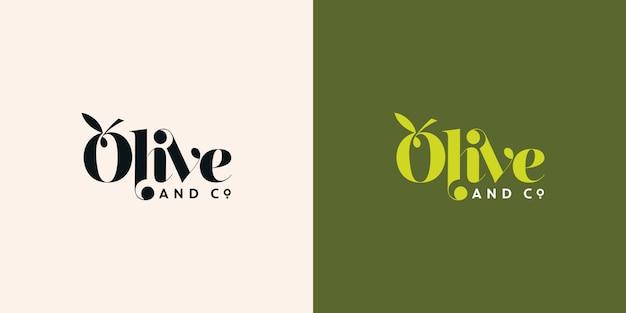 オリーブとcoタイポグラフィのロゴデザインテンプレート