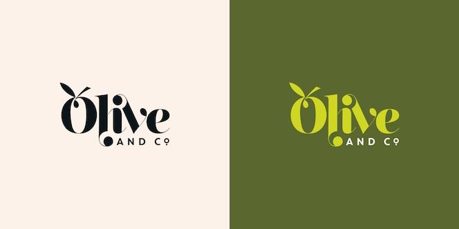 올리브와 공동 타이 포 그래피 로고 디자인 서식 파일