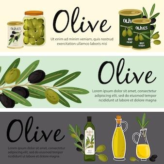 オリーブバナーテンプレート。オリーブの有機製品と植物のイラスト
