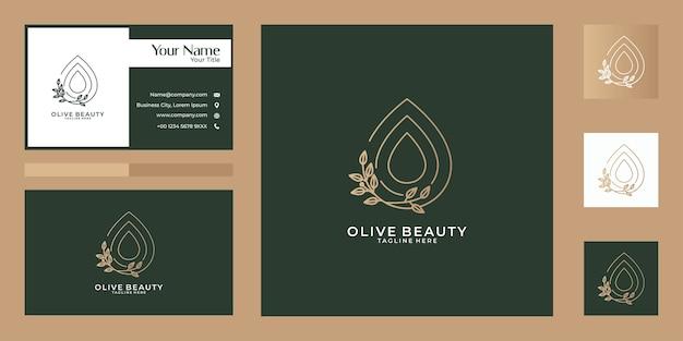 Дизайн логотипа и визитной карточки olive beauty line art nature. хорошее использование для моды, йоги, спа и логотипа салона