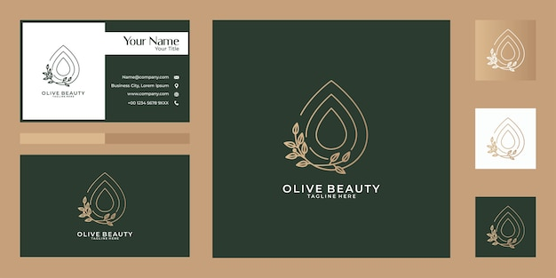 Olive beauty line art nature logo design and business card. good use for fashion, yoga, spa and salon logo