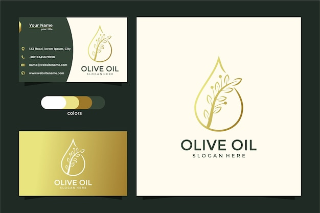 Olive beauty line art nature logo design and business card