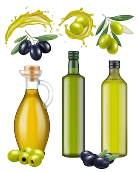 Olive bottles. oil glass package healthy natural products for cooking food green and black greek olives vector realistic template