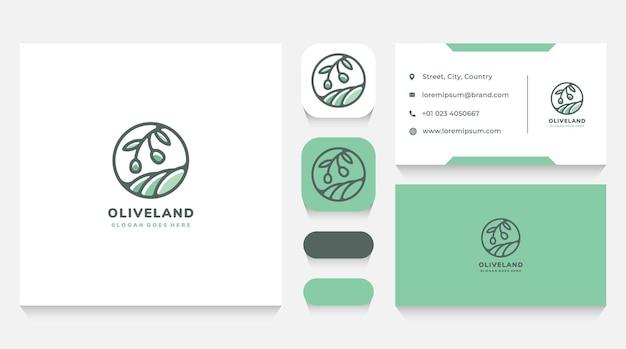Шаблон логотипа оливковой ветки и пейзажа и визитная карточка