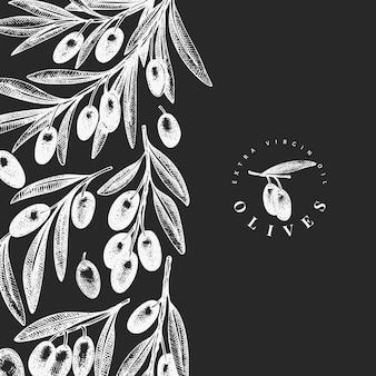オリーブの枝のデザインテンプレート。手は、チョークボードに食べ物イラストを描いた。刻まれたスタイルの地中海植物。レトロな植物写真。