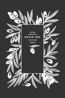 オリーブの枝 。チョークボードに描かれた食べ物のイラストを手します。刻まれたスタイルの地中海の植物。レトロな植物の写真。