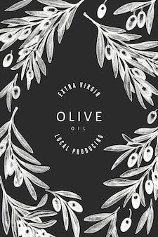 オリーブの枝 。手は、チョークボードに食べ物のイラストを描いた。刻まれたスタイルの地中海の植物。レトロな植物。