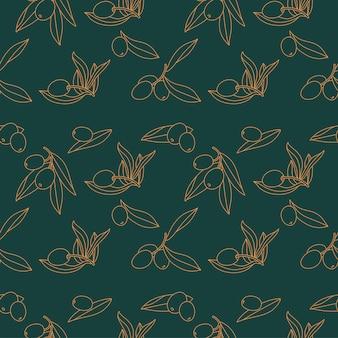 オリーブの枝-線形スタイル。ミニマルなスタイルのシームレスなパターン。