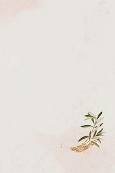 Оливковая ветвь на бежевом фоне текстуры