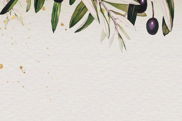 ベージュの背景テンプレートベクトルのオリーブの枝パターン