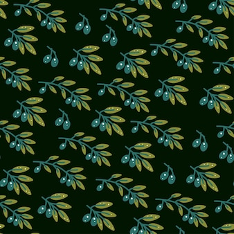 Olive branch seamless pattern in hand drawn style