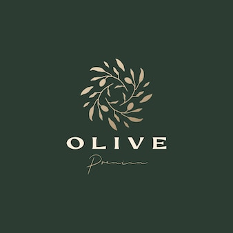 Изысканный эстетический шаблон логотипа оливковой ветки