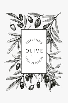 オリーブブランチテンプレート。手描きの食べ物イラスト。刻まれたスタイルの地中海の植物。レトロな植物の写真。