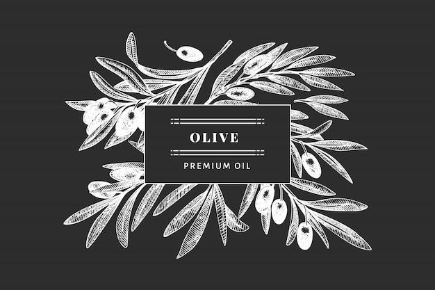 オリーブの枝のテンプレート。手は、チョークボードに食べ物イラストを描いた。刻まれたスタイルの地中海植物。レトロな植物写真。