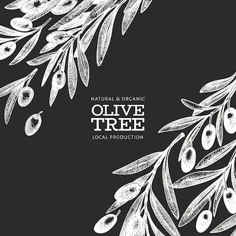 Olive branch template. hand drawn vector food illustration on chalk board. engraved style mediterranean plant. retro botanical picture.
