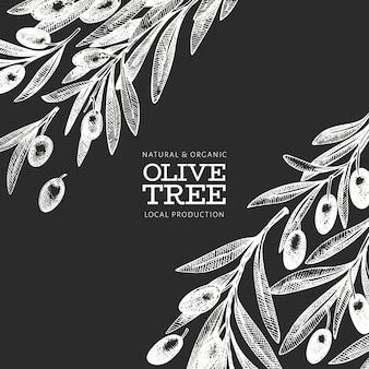 オリーブの枝のテンプレート。手は、チョークボードにベクトル食べ物イラストを描いた。刻まれたスタイルの地中海植物。レトロな植物の写真。
