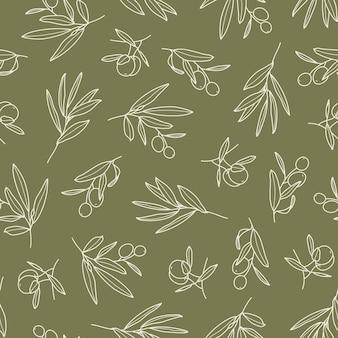 トレンディなミニマルスタイルの葉とフルーツのシームレスなパターンを持つオリーブの枝。植物の背景の概要。生地、招待状、ラッピング、壁紙に印刷するための花の緑のベクトル飾り