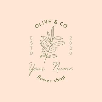현대적인 최소 선형 스타일의 잎 로고 디자인 템플릿이 있는 올리브 브랜치. flowerb shop, spa 살롱, 유기농 화장품에 대한 꽃 삽화가 있는 추상 여성 벡터 표지판