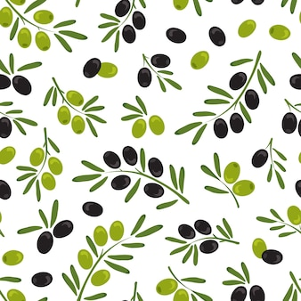 Olive branch with olives and leaves seamless pattern
