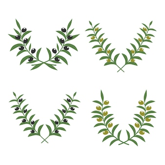 Olive branch wreaths isolated on white
