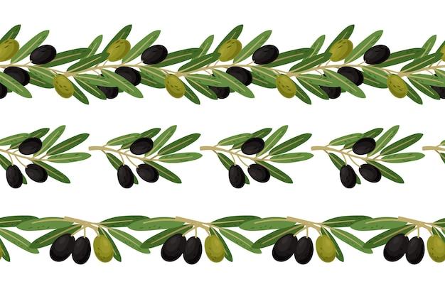 オリーブの枝のシームレスな境界線