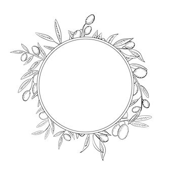Olive branches with fruits outline frame