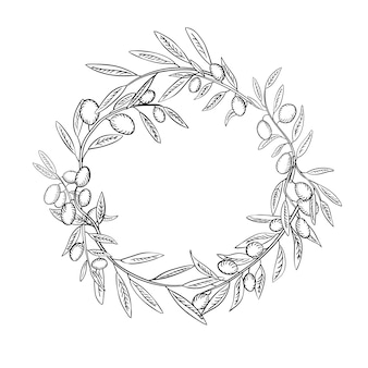 Olive branches with fruits outline wreath