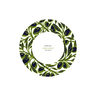 Olive frame pattern in circle green branch fresh fruits graphic hand drawn illustration