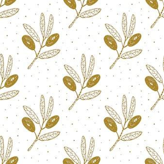 Olive fruit, branch  hand drawn seamless pattern, background, texture.