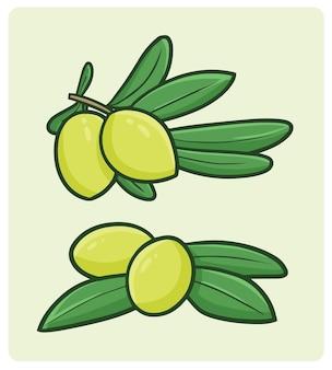 간단한 낙서 스타일의 올리브 과일과 잎
