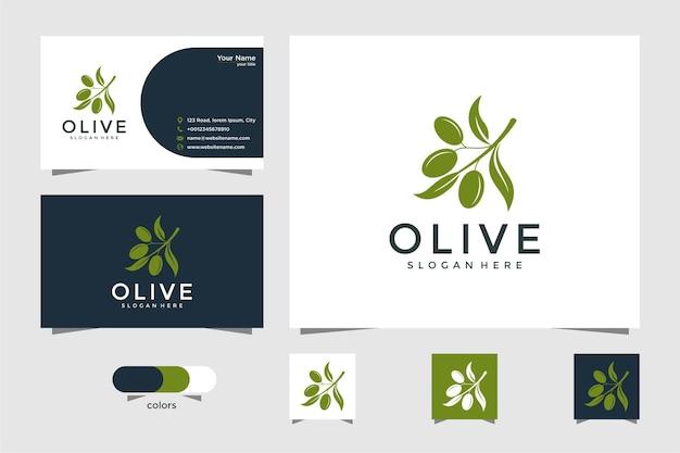 Дизайн логотипа оливково-зеленый и визитная карточка