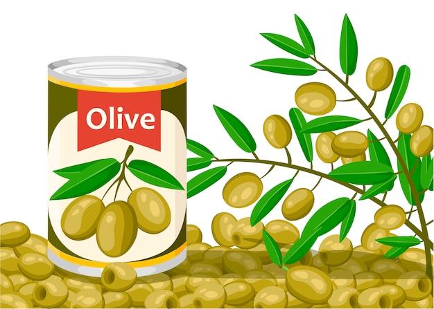 アルミ缶入りオリーブ。枝のロゴ入りオリーブ缶詰。スーパーやショップ向けの商品です。白い背景のイラスト。