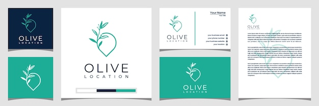 Olive location logo template with line style art. logo business card and letterhead