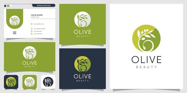 オリーブのロゴと名刺のデザインテンプレート、ブランド、美容、スパ、化粧品