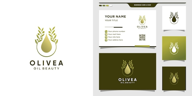 Olive logo combined with water drop. olive oil logo and business card design