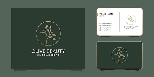 Дизайн логотипа olive с креативным стилем линий premium векторы