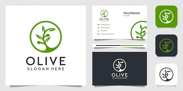 オリーブのロゴイラストグラフィック。植物、葉、花、広告、アイコン、名刺に最適