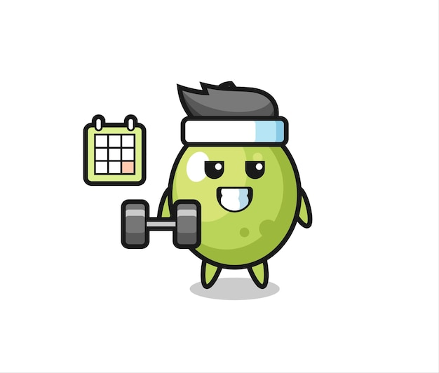 Olive mascot cartoon doing fitness with dumbbell , cute style design for t shirt, sticker, logo element