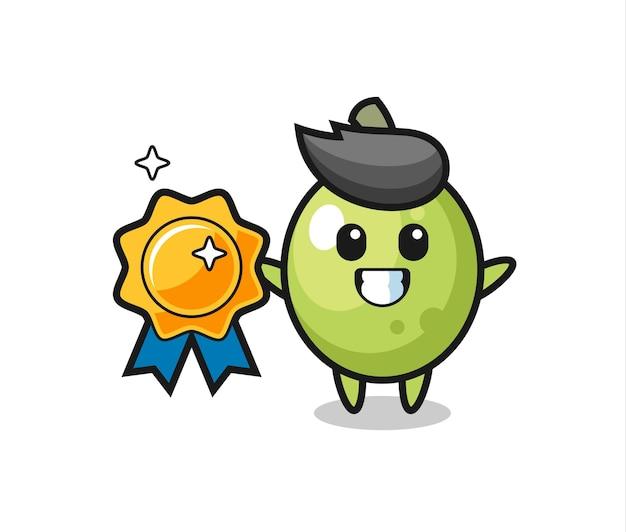 Olive mascot illustration holding a golden badge , cute style design for t shirt, sticker, logo element