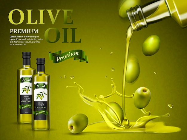 Olive oil ad and olive oil pouring down