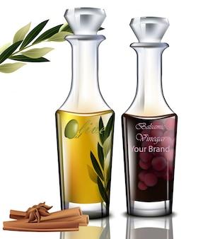 オリーブオイルとバルサミコ酢。現実的な詳細なイラスト