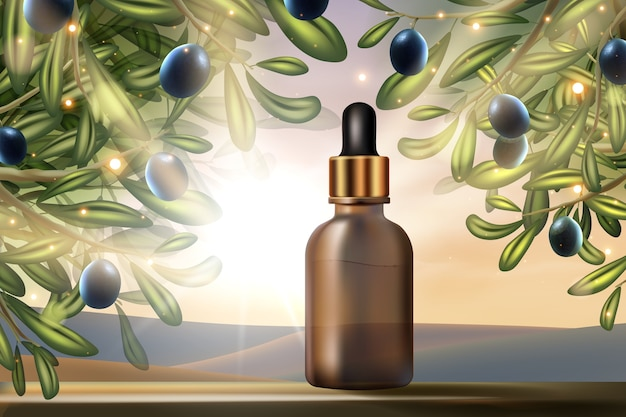 Olive oil beauty product cosmetic d promo design serum face skincare treatment