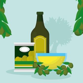 Бутылка оливкового масла и значки